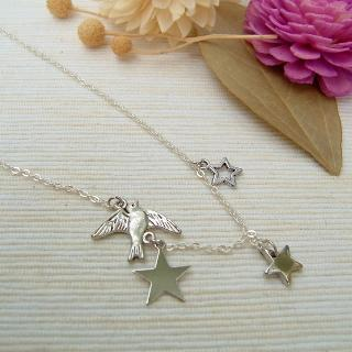 Star & Pigeon Necklace Silver - One Size