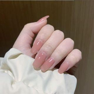 Plain Faux Nail Tip 115 - Glue - Pink - One Size