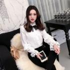 Long-sleeve Lace-trim Chiffon Shirt