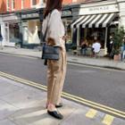 Hidden-button Square Shoulder Bag One Size