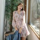 Smocked-waist Floral Chiffon Dress