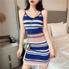 Spaghetti Strap Mini Striped Knit Dress