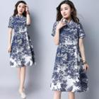 Short Sleeve Printed Linen Cotton Dress