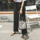Belted Paperbag-waist Wide-leg Dress Pants