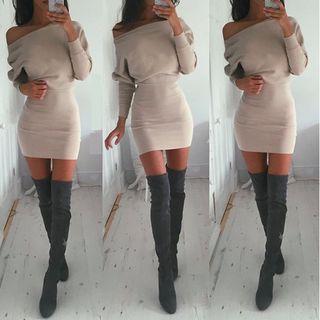 Long-sleeve Off-shoulder Dress