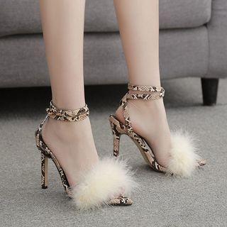 Python Print Ankle Strap Furry High-heel Sandals