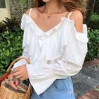 Cold-shoulder Ruffled Chiffon Blouse