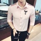 Ribbon Trim Elbow-sleeve Shirt