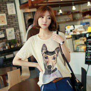 Short-sleeve Dog Print T-shirt