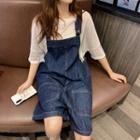 Denim Dungaree Shorts Blue - One Size