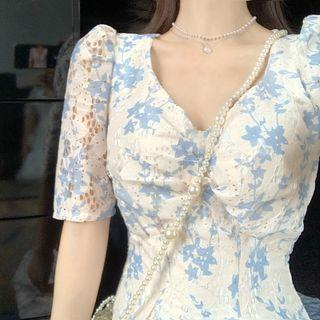 Short-sleeve Floral Perforated Dress