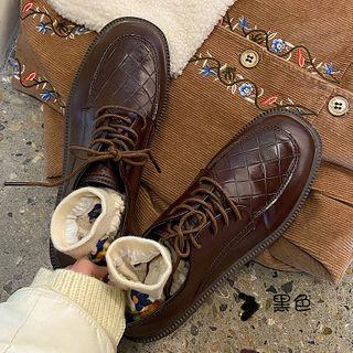 Woven Lace Up Oxford Shoes