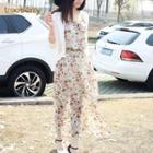 Set: Light Jacket + Strappy Floral Maxi Dress