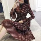 Long-sleeve Dotted Pleated Midi Dress