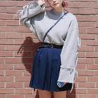 Oversized Ribbon Accent Sweatshirt