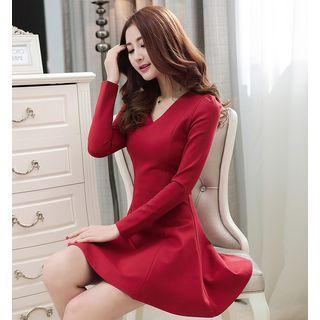 Long Sleeve V-neck A-line Dress
