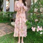 Flower Print Long-sleeve Midi A-line Dress Pink - One Size