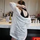 Open-front Perforated Long Cardigan