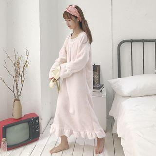 Long Sleeve Fleece Dress Light Pink - One Size