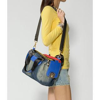 Color-block Denim Shoulder Bag Blue - One Size