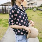Drawstring-hem Polka-dot Shirt