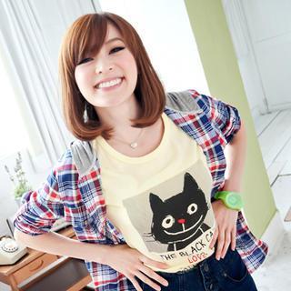 Short-sleeve Cat Print T-shirt