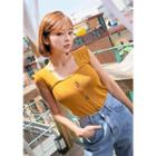 Square-neck Buttoned Sleeveless Knit Top