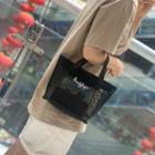 Lettering Mesh Handbag Lettering - Black - One Size