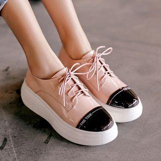 Genuine Leather Platform Oxford Shoes