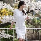Perforated Frill Sleeve Lace Dress