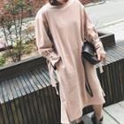 Ruffle Hem Plain Long Sleeve Dress