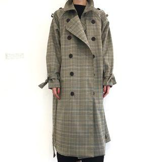 Plaid Trench Coat As Shown In Figure - One Size