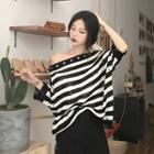 Stripe Short-sleeve Knit Sweater