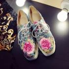Mixed Print Wedge Oxfords