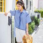 Striped Panel Elbow-sleeve Collared Dress