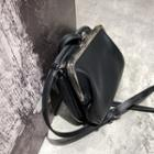 Faux Leather Clutch With Shoulder Strap Black - One Size