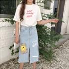 Print Denim Midi Skirt