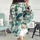 Printed Hooded Chiffon Long-sleeve Top