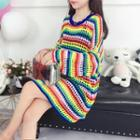 Striped Perforated Long Sweater As Shown In Figure - One Size