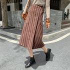 Striped Midi A-line Wrap Skirt