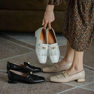 Fringe Block-heel Loafers