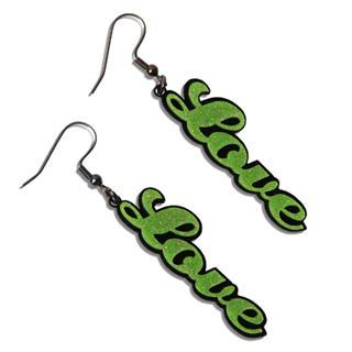 Sweet Green Glitter Love Dangle Earrings