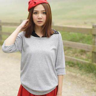 Inset Beaded Collar Shirt Raglan Sweatshirt