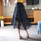 Floral A-line Chiffon Midi Skirt