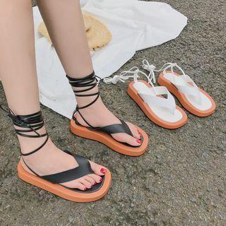 Platform Wedge Tie-ankle Flip Flops