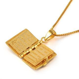 925 Sterling Silver Plated In Yellow Colour Openable Holy Bible Pendant Necklace With Chain (16) (lords Prayer Inside)