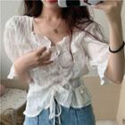 Chiffon Short-sleeve Blouse White - One Size