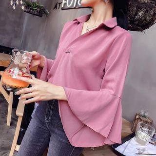 Set: Ruffled Plain Shirt + Knit Skirt