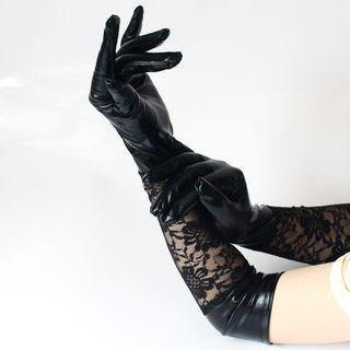 Lace Gloves Black - One Size