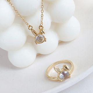 Rhinestone Rabbit Pendant Necklace / Ring